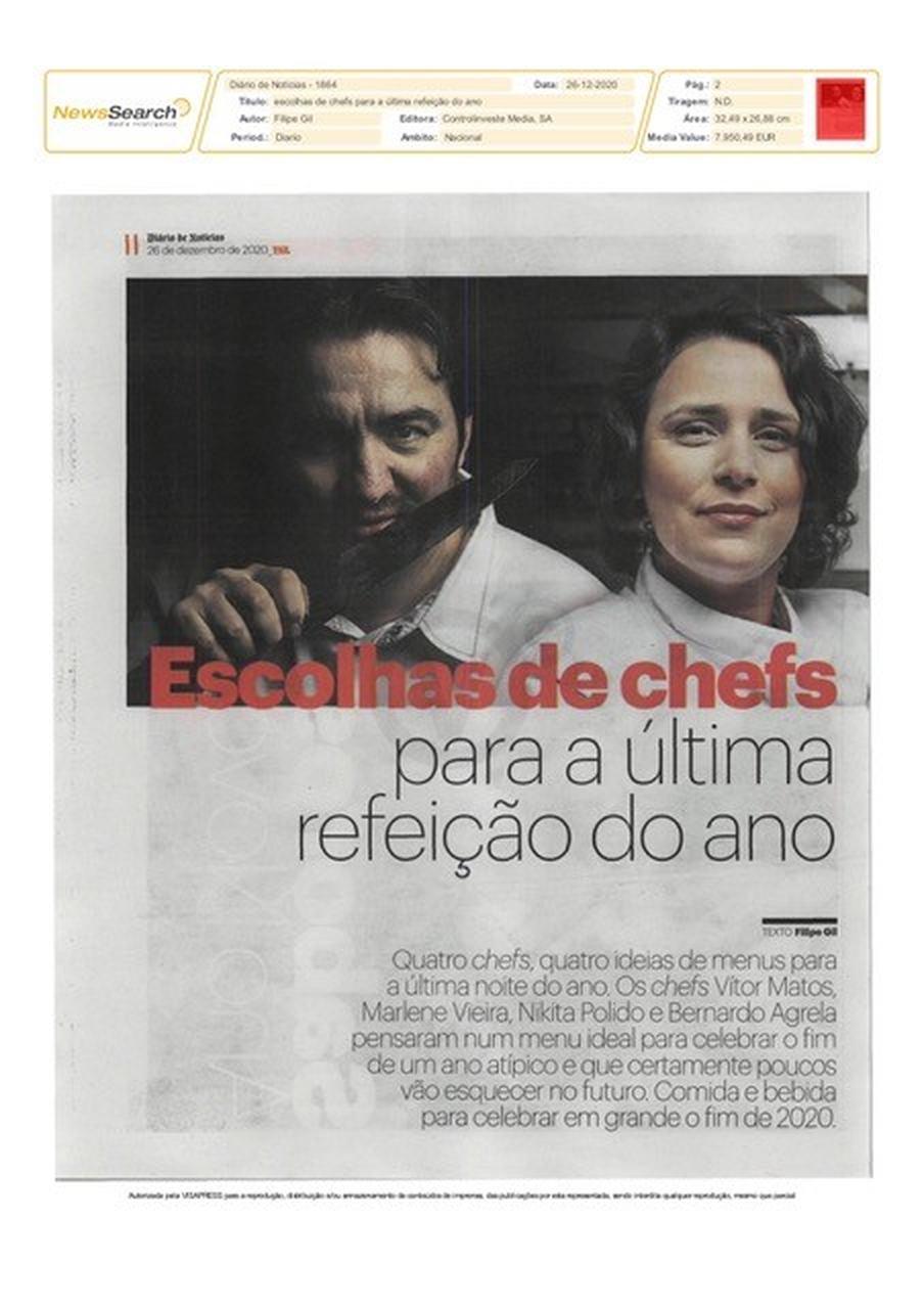 Artigo diário de notícias com Chef Vitor Matos
